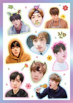 SEOKJINIE ~💜 Pop Stickers, Tumblr Stickers, Printable Stickers, Bts Chibi, Bts Boys, Bts Bangtan Boy, Tumblr Kpop, Kpop Diy, Huawei P10