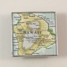 Hawaii Vintage Map Magnet or put map in a frame and hang it up!!
