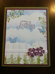 Lovely garden scene using Vintage Vogue, Beautiful Wings embosslits and Word Window punch (?) for the fence