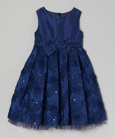 Take a look at this Navy Julia A-Line Dress - Toddler & Girls by Little Miss on #zulily today!