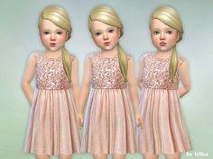 The Sims 4 Safir Toddler Dress Toddler Cc Sims 4, Sims 4 Toddler Clothes, Sims 4 Cc Kids Clothing, Sims 4 Mods Clothes, Sims Mods, Toddler Girl Outfits, Toddler Dress, Kids Outfits, Toddler Stuff