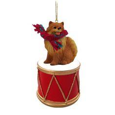 Pomeranian Red Drum Ornament