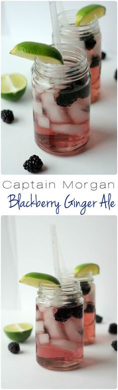 Canada Dry Blackberry Ginger Ale and Captain Morgan Spiced Rum | Home & Plate | www.homeandplate.com | Spiced rum swirled with crisp, bubbly blackberry-flavored ginger ale.