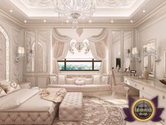 Bedroom Design in Dubai Interior design company Turkney Photo 2 Luxury Master Bedrooms Big Luxury Bedroom Design, Luxury Interior Design, Bedroom Designs, Interior Ideas, Bedroom Ideas, Dream Master Bedroom, Rich Girl Bedroom, Master Bedrooms, Interior Design Colleges