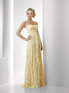 Sheath/Column Floor-length Strapless Chiffon Bridesmaid Dress With Ruffles at Msdressy Bari Jay Bridesmaid Dresses, Prom Dresses, Dresses 2014, Yellow Bridesmaids, Chiffon Dresses, Bride Dresses, Yellow Evening Dresses, Robes Quinceanera, Jeans Rock