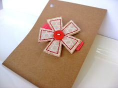Shabby Chic Pinwheel Clip  Khaki and Pink Fabric by PoppyandPippa, $3.75