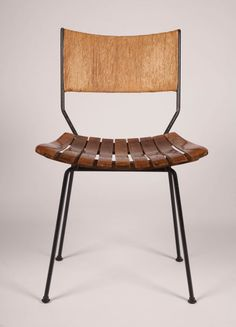 Arthur Umanoff; Walnut, Paper Cord and Wrought Iron Side Chair for Raymor, 1950s.