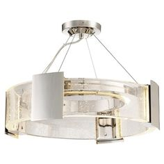 Metropolitan Lighting Stellaris Collection LED Semi Flush Mount in Polished Nickel with Seeded Crystals Semi Flush Ceiling Lights, Flush Mount Ceiling, Flush Mount Lighting, Ceiling Fixtures, Ceiling Lamp, Metropolitan Lighting, Interior Led Lights, Luxury Chandelier, Chandeliers