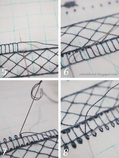 lace border embroidery Border Embroidery, Embroidery Designs, Work Basics, Lazy Daisy Stitch, French Knots, Straight Stitch, Lace Border, Quilt Making, Hand Stitching