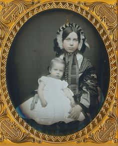 Beautiful Mom and baby, circa late 1850s.