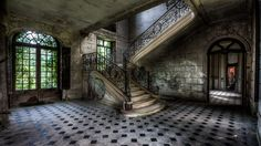 Download wallpaper mansion, stairs, rooms, abandonment, interior resolution 1920x1080