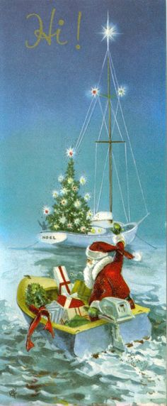 Old Christmas Post Сard Vintage 'Santa Sailboat with Packages', 1970's