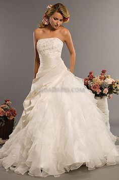 Ivory Organza Strapless Beaded Lace Ballgown Wedding Dresses 282.00