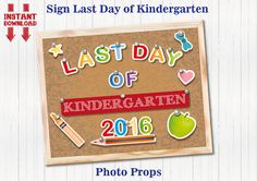 Last Day of Kindergarten Sign Last Day of School by BolleBluParty