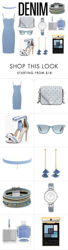 """denim #3"" by sarashic-7 ❤ liked on Polyvore featuring Acne Studios, Alexander Wang, Boohoo, Ray-Ban, Jules Smith, Ben-Amun, Cara, Anne Klein and Nails Inc."