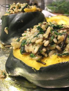 Baked Acorn Squash with Wild Rice and Kale Risotto
