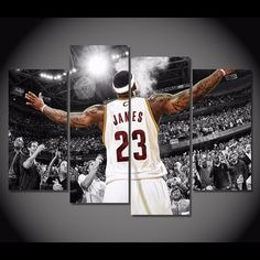 4 Piece Multi Panel Framed Lebron James Cleveland by OctoTreasures