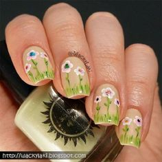 Spring flower garden nails for Easter