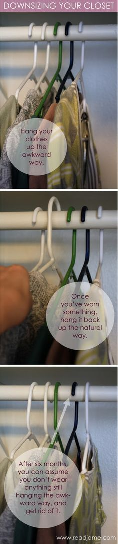 Downsizing hanging clothes in the closet. A great way to see what you wear and what you can donate