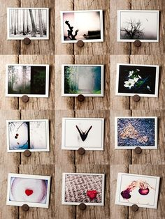 I know this is a bunch of pictures together but it gave me the idea of a magnetic wall with pictures posted using round flat magnets