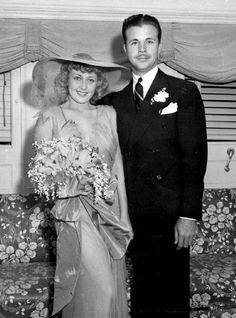 Joan Blondell and Dick Powell on their wedding Day.
