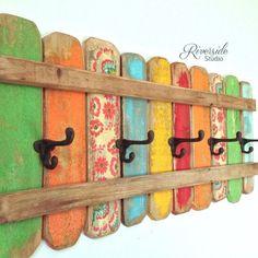 Rustic Coat Rack Wall Art / Handmade Reclaimed Wood / Coat Hook / Bohemian Furniture / Green Blue Yellow Red / RiversideStudio