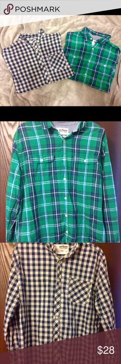 NWOT Men's Button Down Shirts Bundle includes two button down shirts - both are new without tags (just been washed only) and are a size XL from Urban Pipeline. The checkered shirt appears white and black in pictures, is actually a dark blue and white. Shirts Casual Button Down Shirts