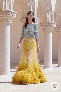 Haute Couture Trends, Haute Couture Fashion, Haute Couture Skirts, Beautiful Pakistani Dresses, Pakistani Dress Design, Yellow Evening Dresses, Latest Bridal Dresses, Prom Dress Couture, Evening Gowns With Sleeves