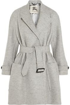 BURBERRY LONDON Belted Wool Coat -    Burberry London's light-gray coverup is a chic hybrid of its signature trench and a classic coat. Cut from cloud-soft wool with a smooth sat..