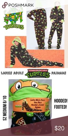 NWT Ladies Hooded/footed Ninja Turtles fleece pj's NWT size medium (8/10) Nickelodeon TMNT fleece hooded and footed pajamas                                           Shop with confidence.                Suggested User Next day shipping                                         5star rated / Top Seller  Nickelodeon Intimates & Sleepwear Pajamas