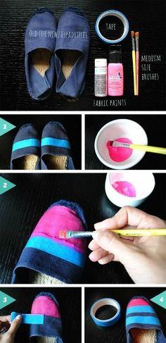 * She Makes a Home *: DIY Custom Painted Espadrilles for Summer Creative Shoes, Diva Design, Shoe Pattern, Crochet Shoes, Painted Shoes, Hot Shoes, Espadrille Shoes, Custom Shoes, Beautiful Shoes