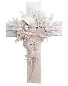 Shell and coral hand made cross