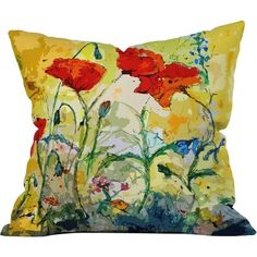 East Urban Home Poppies Provence Outdoor Throw Pillow Size: Extra Large