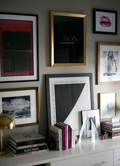 small shop by Erika Brechtel for Style Me Pretty photo by Bryce Covey office gallery wall black white Ellsworth Kelly Kate Moss Rothko fashi...