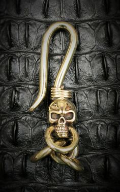 Skull Brass Hook Key Chain/Key Holder Spooky Steampuck by Mygoth (GBK0010)