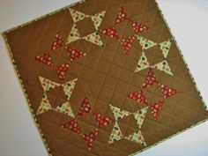 Quilted Table Topper, Square Table Mat, Autumn Leaves Friendship Star Wreath, Reversible, Quiltsy Handmade by VillageQuilts on Etsy