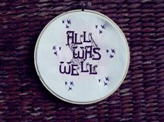All Was Well (Harry Potter-Themed Cross-Stitch Pattern) -- .PDF -- free shipping -- for beginners