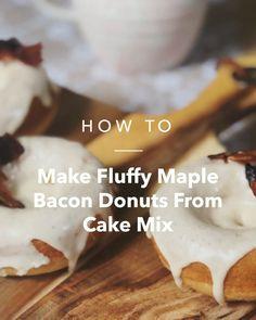 Make Fluffy Maple Bacon Donuts From Cake Mix - Desserts, Sweets & Snacks - Doughnut Recipes Leftover Donut Recipe, Easy Donut Recipe, Donut Recipes, Butter Pecan Cake, Bacon And Butter, Cake Mix Doughnuts, Krispy Kreme Donut Cake, Dunkin Donuts Recipe, Maple Bacon Donut