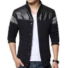 2015 nueva moda invierno hombre de College Baseball con Patchwork diseño Slim Fit marca para hombre Casual abrigo grueso , más tamaño XXXL(China (Mainland))