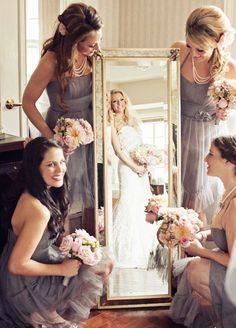 Mirror, mirror on the wall, who's the fairest of them all? How cute is this bride getting ready photo. Wedding Photos, Wedding Party, Bridesmaids
