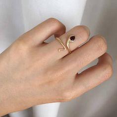 0.43 Carat Garnet Engagement Ring Snake Ring Garnet Ring