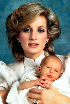Diana, Princess of Wales with her firstborn son, Prince William, the future King of England [1982]