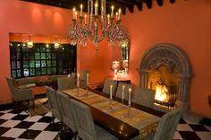Hacienda dining, salmon colored walls.