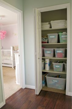 IHeart Organizing: Reader Space: A Lovely Multi-Purpose Closet.  Lovely!!! Just what I need in the art closet. Looks so much better since all the bins are the same. Love the labels too.