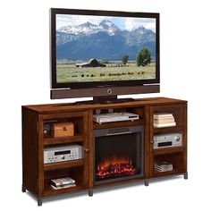 Flair Entertainment Wall Units Fireplace TV Stand - Value City Furniture $499.99 #BuyOnlineVCF #PinItToWinIt Entertainment Wall Units, Entertainment Furniture, Fireplace Tv Stand, Value City Furniture, My Dream Home, The Unit, Entertaining, Home Decor, My Dream House