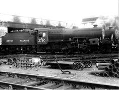 BR ex-LMS Crab Class 5 transitionally numbered at Lancaster shed Steam Railway, Train Times, British Rail, Steam Engine, Steam Locomotive, Battleship, Diesel, Transportation, Engineering
