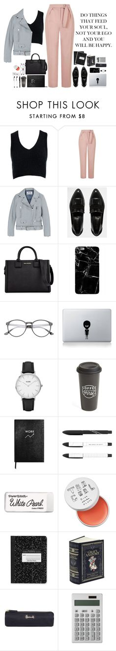 """""""Study now, party later ?"""" by alenanguyen ❤ liked on Polyvore featuring Sans Souci, Topshop, Acne Studios, River Island, Karl Lagerfeld, Vinyl Revolution, CLUSE, The Created Co., Sloane Stationery and Paper Mate"""