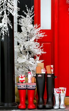 #Winter #Christmas #photography ToniK Joyeux Noël Red door boots decorations brightboldbeautiful.com
