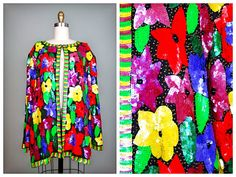 RARE Neon Beaded Sequined Jacket / Bright Floral by braxae on Etsy