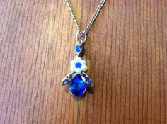 Retro Style Blue Bee Necklace 24 inches by SantaCruzSeraph on Etsy